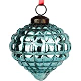 Set Of 2 Handcrafted Blue Coloured Chirstmas Decoratives / Glass Hanging Ball-4 Inch - B01MQWOBCK
