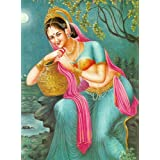 """Dolls Of India """"Indian Beauty With Kalash"""" Reprint On Paper - Unframed (27.94 X 22.86 Centimeters)"""