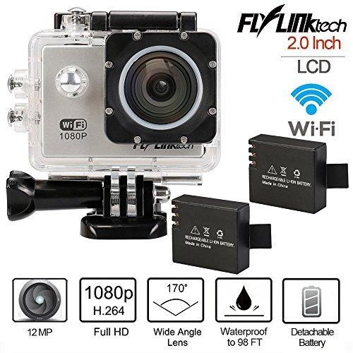 Flylinktech Full HD 2 Inch LCD Sports Action Camera DVR 30M Waterproof 720P 1080P