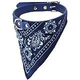 Whtie Floral Print Triangular Scarf 5 Holes Belt Dog Pet Neck Collar Blue