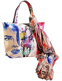 Dupion Faux Silk Tote Bag And Chiffon Scarf Set -Fashion Accessories For Women