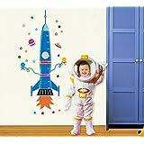 Ufengke? Cartoon Rocket Spaceship And Extraterrestrial DIY Height Chart Decals(80-170cm)(31in-60in), Children's...