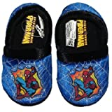 Toddler Boys Blue & Black Spiderman Slippers with Spider Webs
