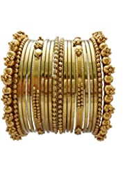 JDX Traditional Wedding Gold-Plated Bangles Bracelets Set For Women Size: 2.8