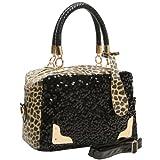 HESPER Black Sequins Leopard Print Pattern Top Double Handle Evening Tote Satchel Handbag Purse Shoulder Bag