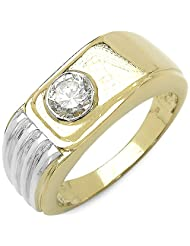 0.40CTW Genuine White Cubic Zircon .925 Sterling Silver Gold Plating Ring - B00XPLLL5O