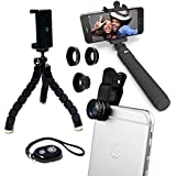 Eye-Pro IPhone Camera Accessories Lens Kit: Fisheye Wide Angle Macro Lenses, Remote Shutter, Selfie Stick, Flexible...