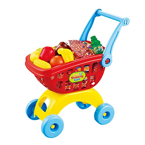Easemate Mini Shopping Cart Pretend Play Toy Color Red Toy For Toddlers