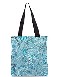 Snoogg Vector Seamless Texture With Abstract Flowers Endless Background Ethnic Sea Designer Poly Canvas Tote Bag