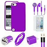 Apple Ipod Accessory Kit – IPod Touch 5 Purple Flexible Gel Skin TPU Case, USB Car And Home Charger Adapter, Data Cable, Auxiliary Cable, Stereo Headset & Screen Protector (7pc Value Combo Bundle Kit)