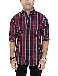 Southbay Men's Maroon & Dark Indigo 100% Cotton Twill Long Sleeve Striped Casual Shirt