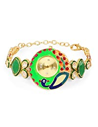 Peacock Theme Multicolor Enamel Green Onyx, Red Glass & White Cubic Zirconia Gold Plated Brass Watch