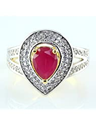 AMERICAN DIAMOND & RUBY LOOK RED STONE GOLD PLATED RING JEWELRY
