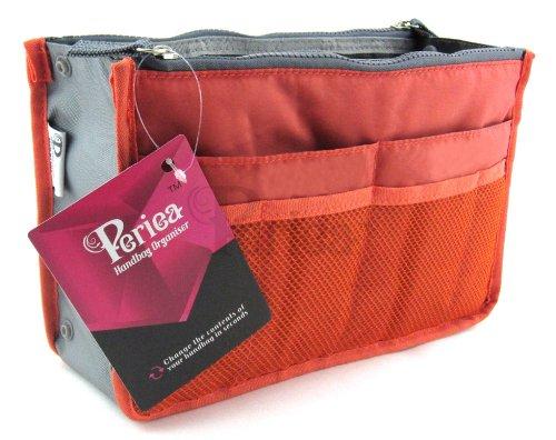 Periea - Organiseur de sac à main, 12 Compartiments - Chelsy (Orange, Grand: H20 x L33.5 x P2-26cm)