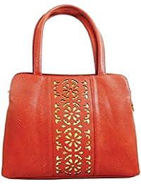 KionStyle Cut Work Red Women Handbag