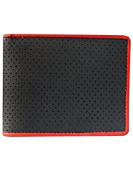 Style98 Black And Red Genuine Leather Designer Wallet With 8 Card Slots For Men