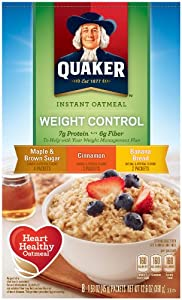 Quaker Instant Oatmeal Weight Control, Flavor Variety Pack, 8-Count Boxes (Pack of 4)