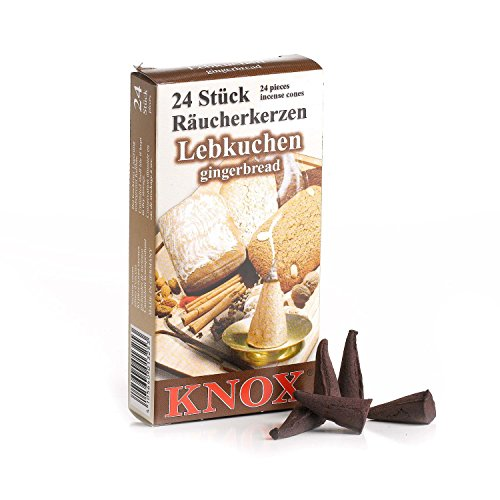 KNOX Gingerbread Scented Incense Cones, Pack of 24, Made in Germany