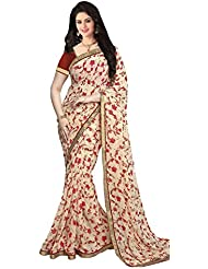 Fabdesire Women's Clothing Party Wear Collection Low Price Sale Offer Pink & Cream Printed Saree Sari
