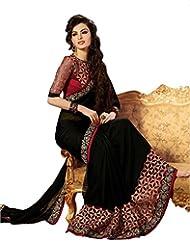 Swadesi Stuff Women's Black Embroidered Georgette Saree (Black_Velvet_Border)