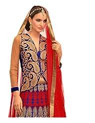 Admyrin Blue Net Embroidered Lehenga With Velvet Choli And Net Dupatta