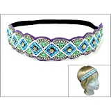 Rosemarie Collections Women's Rhinestone And Beaded Stretch Fashion Headband (Blue And Purple)