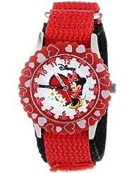 Disney Kids' W000281 Minnie Mouse Glitz Stainless Steel Time Teacher Red Bezel Red Nylon Strap Watch