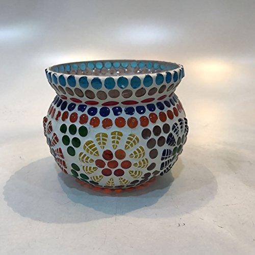Dlite Crafts Multicolor Polka Design Home Decorative Votive Candle Holder, Set Of 2 PCs - B06XYL1MCL