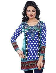 Womens Kurtis Tunic Top Printed Cotton Blend Kurta Indian Clothing