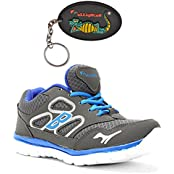 Elligator 1429 Grey & Blue Sports Shoes With Stylish Rubber Key Chain For Men Combo (Set Of 2)