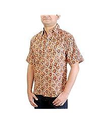 Viniyog Men's Regular Fit Cotton Hand Block Printed Kalamkari Shirt (Multi-Coloured) - B00NHGNT8O