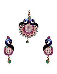 Peacock Style Pendant & Earrings Set Studded With Pearl, Ruby & Emerald