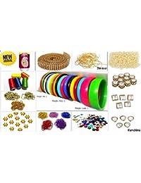 Silk Thread Bangle Making Fully Loaded Designing Box - Includes Bangle Set (size 2.4) Kundans-silk Threads-glue-zardosi-stone...