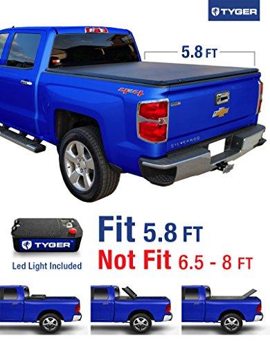 Tyger Auto TG-BC3C1006 Tri-Fold Tonneau Truck Bed Cover (For 2014-2016 Silverado/Sierra 1500 & 2015 Silverado/Sierra 2500 HD/3500 HD 5.8′ (69.6″))