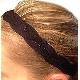 It S Ridic No Slip Grip Non-Slip Sports Athletic Nylon Triple Braided Sports Headband Black   Black   Black