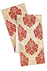 Cotton Craft - Jute Damask Table Runner - Coral Gold - Highlighted With a Rich Colorful Gold Foil Metallic Print - Size - 13x72 - Make every dinner a celebration - Spot Clean Only