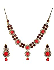 I Jewels Traditional Gold Plated Stone Necklace Set With Maang Tikka For Women (Maroon) (Ij242M)