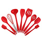 Joyoldelf 9-Piece Silicone Baking Set - Spatulas, Spoons & Turner - Heat Resistant Cooking Utensils (Red)