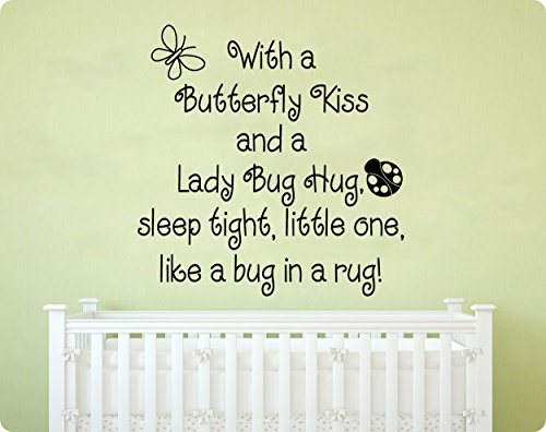 """24"""" With A Butterfly Kiss and Ladybug Hug Sleep Tight Little One Like a Bug In a Rug Nursery Rhyme Saying Baby Children Kids Wall Decal Sticker Art Mural Home Décor Quote"""