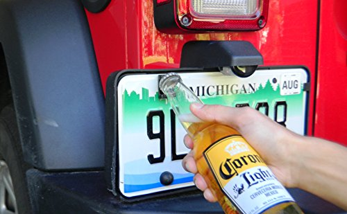 Rear License Plate Mounted Bottle Opener Accessory fits Jeep Wrangler JK and TJ Models