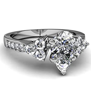 Fascinating Diamonds 1 Ct Pear Shaped Very Good Cut SI2-D Diamond Engagement Pave Ring 14K GIA