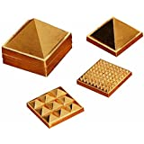"Discount4product Metal 1"" 91 Pyramids In Total, Feng Shui For Prosperity And Positive Energy Set Of Three Pyramid..."