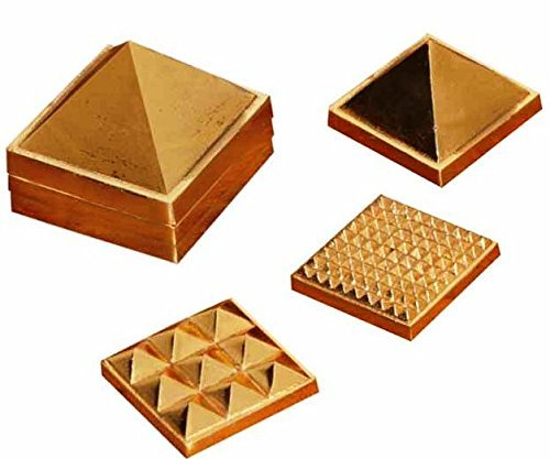 """Discount4product Metal 1"""" 91 Pyramids In Total, Feng Shui For Prosperity And Positive Energy Set Of Three Pyramid..."""