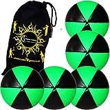 Flames N Games Astrix Uv Thud Juggling Balls Set Of 5 (Black/Green) Pro 6 Panel Leather Juggling Ball Set & Travel...