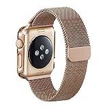 Apple Watch Band, PUGO TOP magnetérico milanese eurolazos Reemplazo de muñeca correa de acero inoxidable topfbänder para Apple Watch 42 mm astilla, para Apple Watch, 0.11 pounds, color Dorado