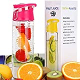 FGN Sport Water Bottle With Fruit Infuser And Carrying Handle,with Locking Flip Top Lid, BPA FREE -23 Oz-made...
