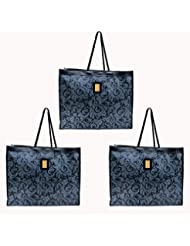 DIYARAS058 Thick Eco Friendly Gift Bag Cum Shopping Bag, With Abstract Floral Design Set Of 3, (46cm X 36cm X...