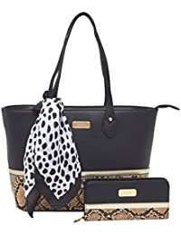 ESBEDA Black Color Python Print Combo Tote Bag With Wallet & Scarf For Women