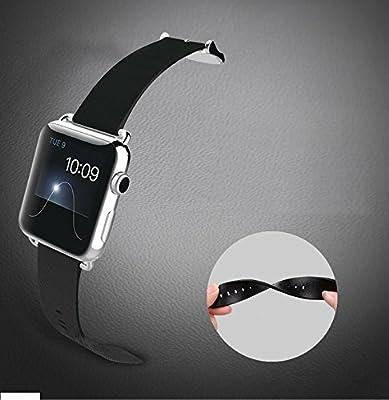 ECSEM 38mm 時計バンド  本革ソフトレザー ステンレス鋼のバックル クラシックバックル Apple Watch用ベルト 交換ベルト 腕時計ストラップ ブラック