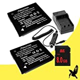 Two Halcyon 1200 MAH Lithium Ion Replacement Battery And Charger Kit + 8GB SDHC Class 10 Memory Card For Panasonic...